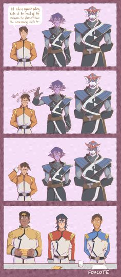 """""""He started it, Keith."""" (Krolia isn't allowed to stand next to James at conferences anymore.) >>> Krolia: """"Don't ever talk about my son like that ever again or I will murder you with my blade! Voltron Comics, Voltron Memes, Voltron Fanart, Form Voltron, Voltron Ships, Voltron Klance, Fandoms, Allura, Space Cat"""