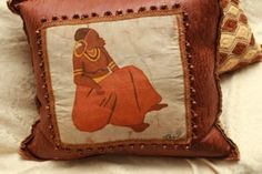 "Original, signed Batik graces the reverse side of a 22"" Kuba Cloth Pillow. Product is in stock for immediate delivery...$310.00"