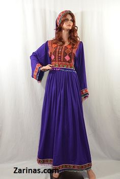 """Matra Kuchi Style Afghan Dress Beautifully embroidered traditional Afghan Kuchi tribal dress. The material is soft, breathable, and light weight - perfect for the summer! Comes with matching pants, head scarf, and adjustable belt at the waist. The measurement of the bust is 18"""" from seam to seam, and the length is 52"""" long from the back. Color: Purple.  Size: Small to Large (Depending on bust size)  http://www.zarinas.com/dresses2.shtml"""