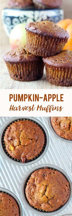 Incredibly moist pumpkin muffins chocked full of pumpkin pie spice, cinnamon & nutmeg. Pumpkin puree and applesauce lend moisture while the oats, apple chunks, and cranberries provide a bit of texture. Easily substitute mashed ripened banana for the eggs Apple Recipes, Fall Recipes, Baking Recipes, Real Food Recipes, Dessert Recipes, Breakfast Recipes, Pumpkin Puree Recipes, Healthy Muffin Recipes, Apple Recipe Healthy