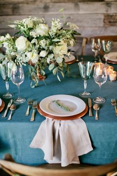 Our Copper Chargers & Hemstitch Napkins! Rustic Wedding Table | photography by http://www.kristynhogan.com