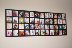 Bits Of Everything: Wall Picture Collage; great, cheap & easy peasy! I like that you could do it any size. Perfect for the basement family room.