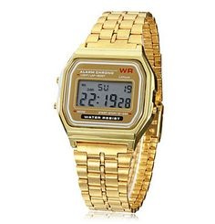 Unisex Multi-Function Square LCD Dial Alloy Band Digital Watch (Gold) $10.78