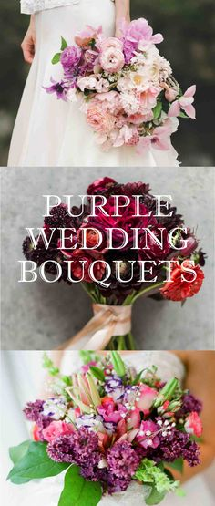 Purple Wedding Bouquets | Martha Stewart Weddings - Whether in shades of lilac, lavender, burgundy, violet, or even magenta, incorporating purple into your color scheme is surefire way to make your wedding bouquet instantly more elegant and romantic. You can use all purple flowers for a monochromatic look or add a pops of the hue for a more whimsical feel. Check out some of our favorite purple wedding bouquets here!