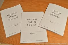 Addition tables booklets printable