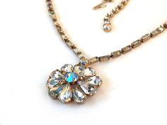 Vintage Rhinestone Flower Necklace Faceted Teardrop Petals Baguettes & Aurora Borealis Gold Metal High End Unsigned Designer