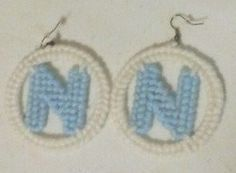 +Needlepoint++Initial+Earrings++are+stylish+and+lite+weight.+Needlepoint++Initial+Earrings+are+made+with+yarn+and+plastic+canvas+mesh.