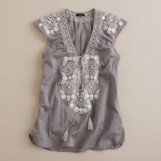 J.crew mosaic tunic: grey embroidered tunic top