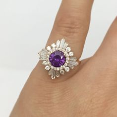 Engagement Rings & Wedding Rings : The Original Gatsby with colored stone