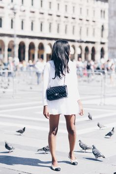 White dress, Chanel Medium flap outfit idea. Chanel ballerinas. Milan street style outfit.