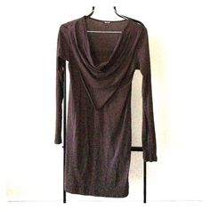 Long brown tunic/dress. Cotton dress/tunic with detailed neckline. Perfect over leggings with boots on a fall day. LA Made Dresses Long Sleeve