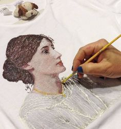 """""""I desired always to stretch the night and fill it fuller and fuller with dreams."""" VIRGINIA WOOLF  t-shirt Painted Portrait tshirt - Quortshirts  - 1"""