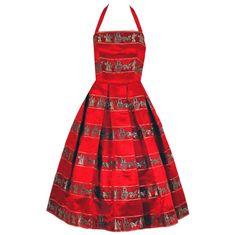 1stdibs.com | 1950's Novelty Roman-Empire Red Print Satin Halter Dress & Jacket