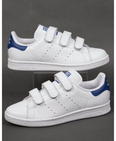 6ae2c9092f7 Adidas Stan Smith Womens CF Trainers White Royal Blue Sale Discount Adidas