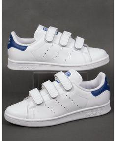 Adidas Stan Smith Womens CF Trainers White Royal Blue Sale Discount Adidas,  Blue Boots, 6b57a035b41