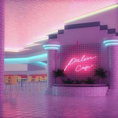 vaporwave bedroom Plaza Cafe by Grace Casas (grace_anim) : VaporwaveAesthetics New Retro Wave, Retro Waves, Purple Aesthetic, Retro Aesthetic, Aesthetic Light, Neon Room, Led Neon Signs, Personalized Signs, Neon Lighting