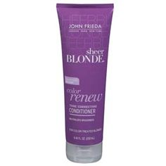 John Frieda - Sheer Blonde Color Renew Tone Restoring Shampoo: keeps blondes blondes. At 7 bucks a bottle, regular price, it's the best way to keep your hair from turning yellow! Best Blonde Shampoo, Shampoo For Gray Hair, Purple Shampoo, Bright Blonde, Blonde Color, Lush Lipstick, Face Care, Skin Care, Body Care