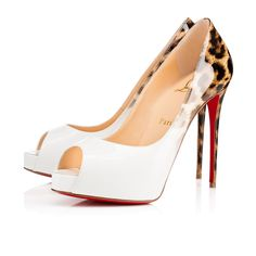 """""""New Very Prive"""" is a chic update on the signature """"Very Prive"""". Featuring a slender platform and 120mm spike heel, this peep-toe pump in glamorous latte-to-leopard 50's dégradé patent leather is a Spring/Summer sensation."""