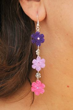 Crochet flower earrings - Crochet jewelry - Long earrings - Pink, purple, violet  - Fashion jewelry - Gift idea