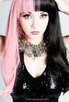 "two faced pink and black hair style => SOURCE: @Bendrix ""Hair and Style .ME"" Board via."