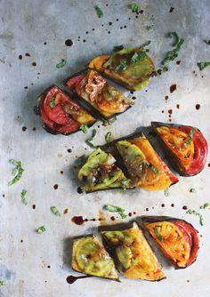 Roasted eggplant with heirloom tomatoes