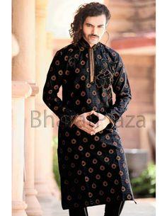 Designer kurta pyjam is the best choice for the Bridegroom. Item Code: skb9874