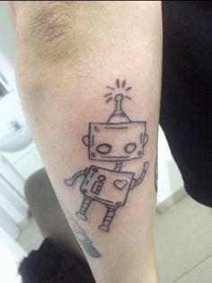 Funny Robot Tattoo Idea Robot Tattoo, Disney Tattoos Small, Wonderland Tattoo, Mouse Tattoos, Funny Tattoos, Hand Tattoos, Tattoo Quotes, Art, Art Background