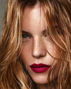 Layer a red lip liner under fuchsia to darken the shade for fall // good lipstick tip