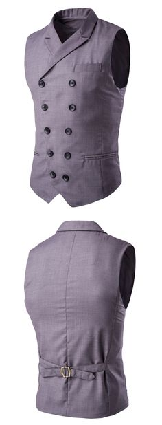 Lapel Collar Double Breasted Waistcoat - Gray 2xl