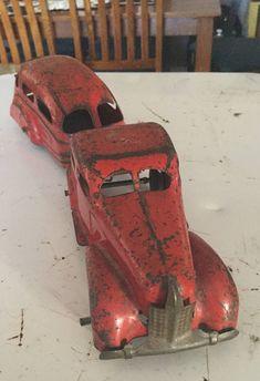Original Wyandotte Art Deco Sedan and Camper Van, Car and Trailer Metal Toys, Tin Toys, Antique Toys, Vintage Toys, Toy Tanks, German Toys, Toy Barn, Corgi Toys, Hobby Toys