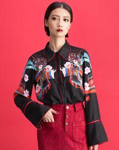 #AdoreWe #VIPme Blouses & Shirts - YUNSIMUXIANG Black Contrast Color Long Trumpet Sleeve Floral Print Shirt - AdoreWe.com