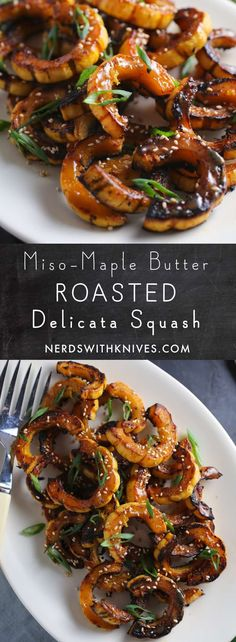 Delicata squash (or your favorite winter variety) roasted until deeply caramelized and glazed with a delicious miso-maple butter. It's sweet, salty and so satisfying.