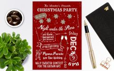Christmas flyer, Christmas invitations, Christmas Party Invite, Christmas Invitation Instant Download by PrintablesForEvents on Etsy