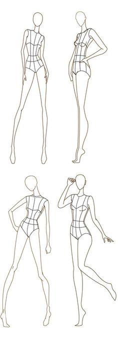 Awesome Free Fashion Croquis: Fashion Figure Templates von www. Illustration Mode, Fashion Illustration Sketches, Fashion Sketchbook, Fashion Sketches, Croquis Fashion, Sketchbook Ideas, Fashion Design Illustrations, Fashion Model Sketch, Simple Illustration