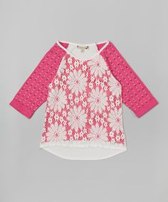Look what I found on #zulily! Speechless Ivory & Fuchsia Daisy Crochet Raglan Top by Speechless #zulilyfinds