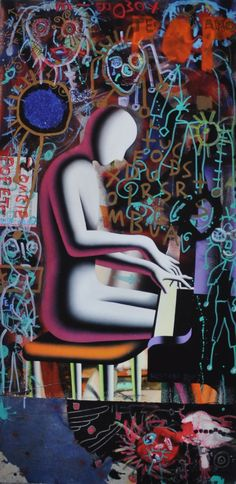 Mark Kostabi & Paul Kostabi Playing Under Supervision, 2013 Original giclée on heavy, handmade cotton paper Hand-signed by both artists 49 cm x 24.5 cm on 61 cm x 33 cm This is a E.A. copy of a limited edition of 50 In perfect condition Brothers Mark and Paul Kostabi are two American contemporary artists with Estonian immigrant origins. Mark Kostabi's paintings can be found now in the private collections of Axl Rose, Bill Gates, Debbie Harry, Brooke Shields, Norman Lear, Billy Wilder, Aaron…