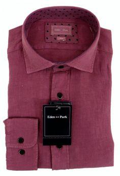 Eden Park Linen Cranberry Shirt - £95 with FREE UK Delivery #Linen #Mens #Fashion #EdenPark #Summer