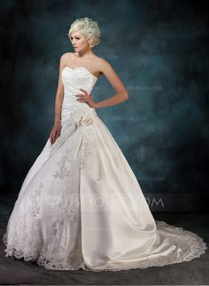 Ball-Gown Sweetheart Chapel Train Satin Wedding Dress With Ruffle Beading Appliques Lace Flower(s) (002000435) - JJsHouse