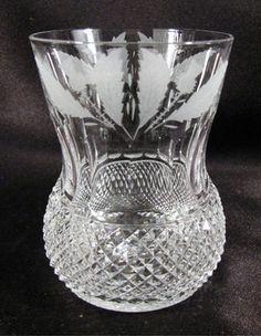 Signed Edinburgh Scotland Cut Crystal Thistle Etch Old Fashioned Tumbler 8 Oz | eBay