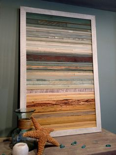 Coastal Reclaimed Wood Art 18 X 18 by RedHouseDesignStudio on Etsy