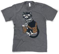 Amazon.com: Hipster Cat T Shirt funny kitty shirt hipster kitten tee: Clothing