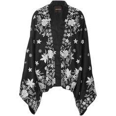 Embroidered Silk Kimono    Moda Operandi via Polyvore featuring intimates and robes