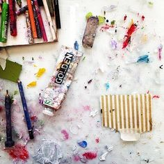 Painting table... #art #painting #abstract #mixedmedia #palette #studiolife #contemporaryart #ss16 #aw16 #fw16