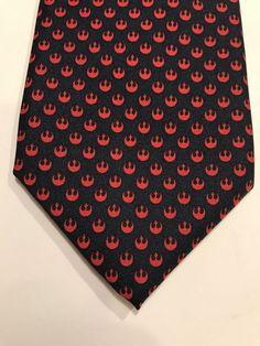 ba30de9e51a0 STAR WARS Allover Rebel Army Alliance Solid Patterned Casual Necktie Tie  RED EUC #StarWars #