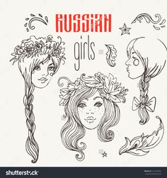 Russian traditional style girls: doodles set, hand drawn simple USSR elements sketches. Vector isolated illustration. National culture concept.