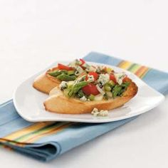Asparagus Bruschetta - I'd like to try it replacing blue cheese with feta crumbles