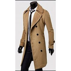 Romeo Men's Solid Color Lapel Neck Double Breast Tweed Coat – CAD $ 33.35