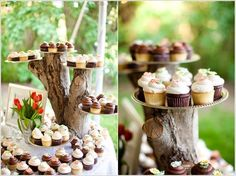 New cupcakes wedding display tree stumps ideas Rustic Cupcake Display, Rustic Cupcakes, Wedding Cupcakes, Wedding Cake, Tree Wedding, Wedding Desserts, Cupcake Tree, Cupcake Cakes, Cupcake Ideas