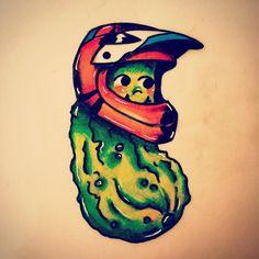"When mom calls you "" my pickle"" and you love BMX racing...#tattoo#pickletattoo#kewpiepickle#twitter#tattooformom#momlove#instagram#tattooartist#bodyandsoultattoo#jerseycity#sketching#pickles#"