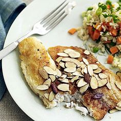 Almond Tilapia and Peas-and-Carrots Rice – FishRecipes.net